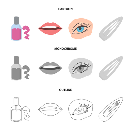 Nail polish, tinted eyelashes, lips with lipstick, hair clip.Makeup set collection icons in cartoon,outline,monochrome style vector symbol stock illustration .