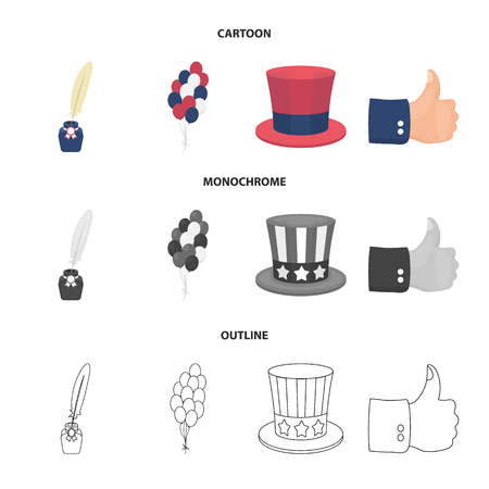 Balloons, inkwell with a pen, Uncle Sam hat. The patriot day set collection icons in cartoon,outline,monochrome style vector symbol stock illustration .
