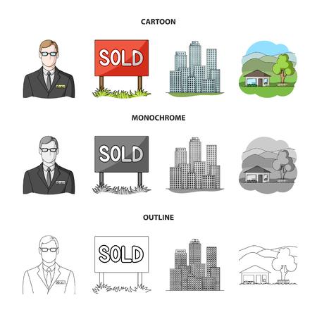 Empleado de la agencia, vendido, metrópoli, casa de campo. Inmobiliaria configurar los iconos de la colección en dibujos animados, contorno, estilo monocromo símbolo ilustración vectorial de stock.