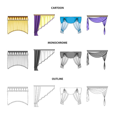 Different types of window curtains.Curtains set collection icons in cartoon,outline,monochrome style vector symbol stock illustration .