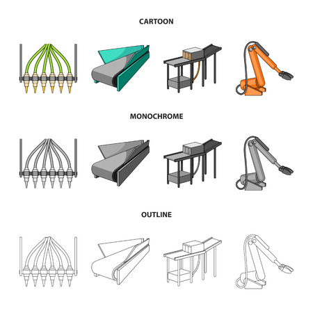 Modern equipment and other web icon in cartoon,outline,monochrome style.Machine tools and equipment factory icons in set collection.