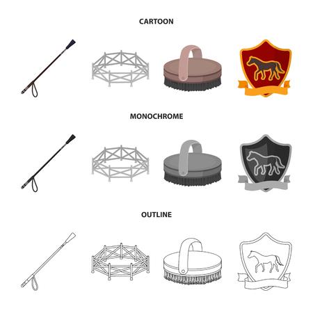 Aviary, whip, emblem, hippodrome .Hippodrome and horse set collection icons in cartoon,outline,monochrome style vector symbol stock illustration . Ilustração