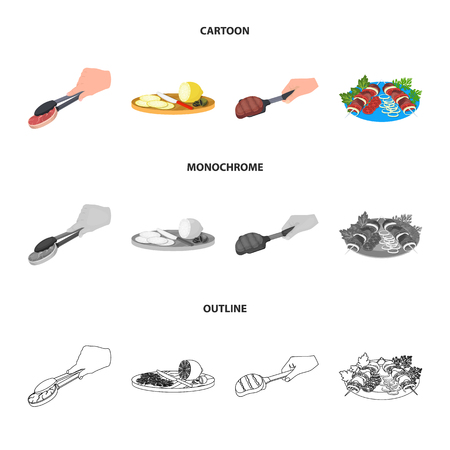 Tongs with steak, fried meat on a scoop, slicing lemon and olives, shish kebab on a plate with vegetables. Food and Cooking set collection icons in cartoon,outline,monochrome style vector symbol stock illustration .