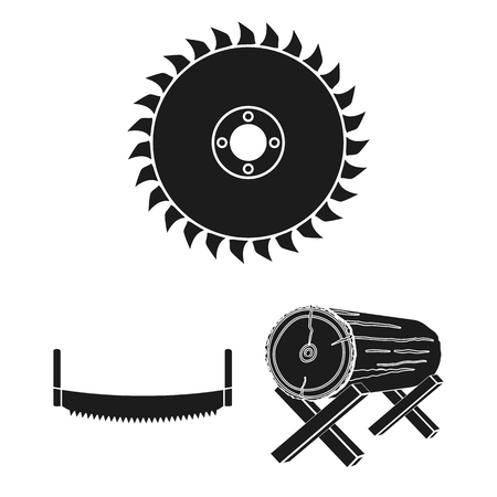 Aserradero y madera, iconos negros de colección set de diseño. Ilustración de stock de símbolo de vector de hardware y herramientas.