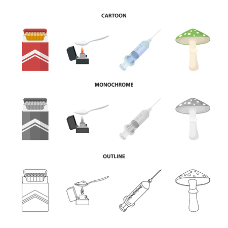 Cigarettes, a syringe, a galoyucinogenic fungus, heroin in a spoon.Drug set collection icons in cartoon,outline,monochrome style vector symbol stock illustration .