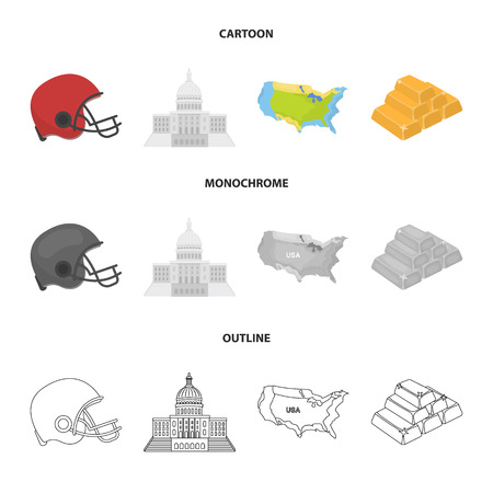 Football player helmet, capitol, territory map, gold and foreign exchange. USA country set collection icons in cartoon,outline,monochrome style vector symbol stock illustration .