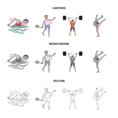 Swimming, badminton, weightlifting, artistic gymnastics. sport set collection icons in cartoon,outline,monochrome style vector symbol stock illustration .