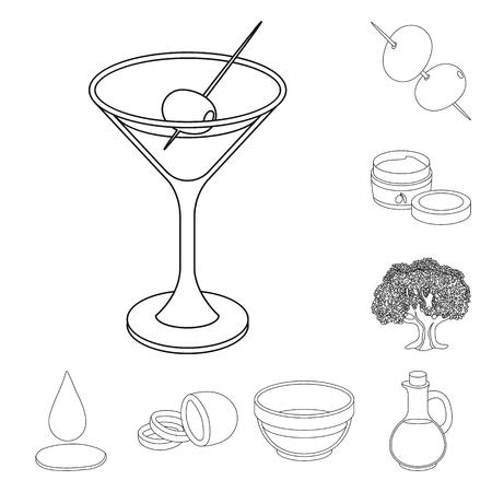 Olive, food outline icons in set collection for design. Olive oil, seasoning vector symbol stock  illustration. Reklamní fotografie - 104949092