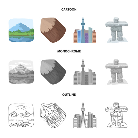 Lakes, mountains, the tower of SI-EN and other symbols of Canada.Canada set collection icons in cartoon,outline,monochrome style vector symbol stock illustration .
