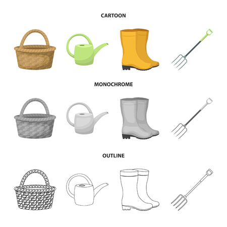 Basket wicker, watering can for irrigation, rubber boots, forks. Farm and gardening set collection icons in cartoon,outline,monochrome style vector symbol stock illustration web.