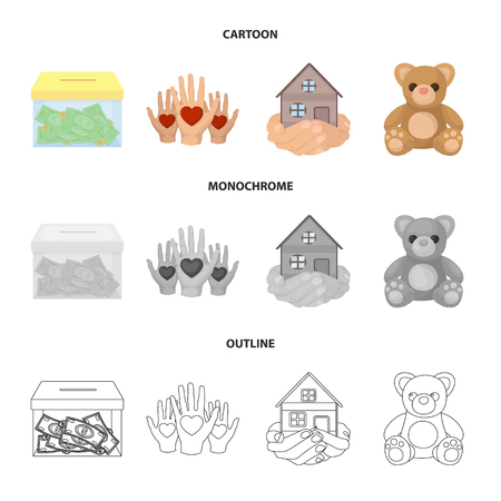 Boxing glass with donations, hands with hearts, house in hands, teddy bear for charity. Charity and donation set collection icons in cartoon,outline,monochrome style vector symbol stock illustration . Stock Photo