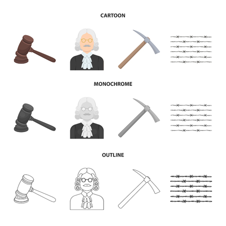 Judge, wooden hammer, barbed wire, pickaxe. Prison set collection icons in cartoon,outline,monochrome style vector symbol stock illustration web.