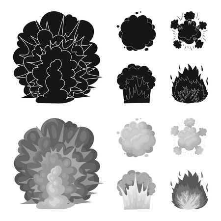 Flame, sparks, hydrogen fragments, atomic or gas explosion. Explosions set collection icons in black,monochrom style vector symbol stock illustration web.