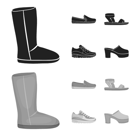 Beige ugg boots with fur, brown loafers with a white sole, sandals with a fastener, white and blue sneakers. Shoes set collection icons in black,monochrom style vector symbol stock illustration web. Illustration