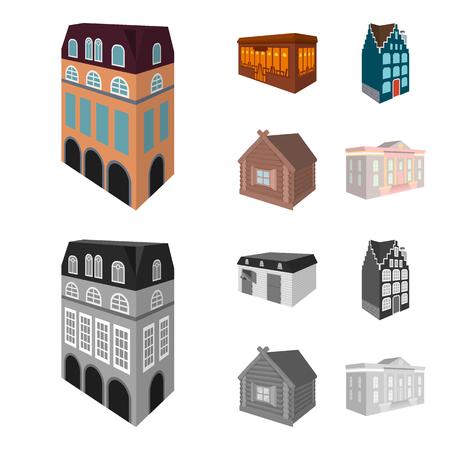 英国風の住宅、ステンドグラスの窓のあるコテージ、カフェビル、木造小屋。建築と建物のセットコレクションアイコン漫画、モノクロスタイルベクトルシンボルストックイラストウェブ。