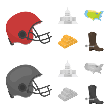 Football player helmet, capitol, territory map, gold and foreign exchange. USA Acountry set collection icons in cartoon,monochrome style vector symbol stock illustration web.