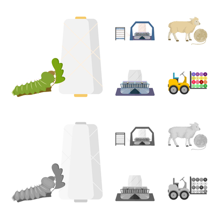 Cotton, coil, thread, pest, and other web icon in cartoon,monochrome style. Textiles, industry, gear icons in set collection.
