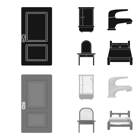 Door, shower cubicle, mirror with drawers, faucet.Furniture set collection icons in black,monochrom style vector symbol stock illustration web.