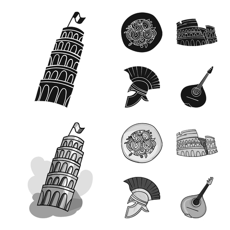 Pisa tower, pasta, coliseum, Legionnaire helmet.Italy country set collection icons in black,monochrom style vector symbol stock illustration . Stock Photo