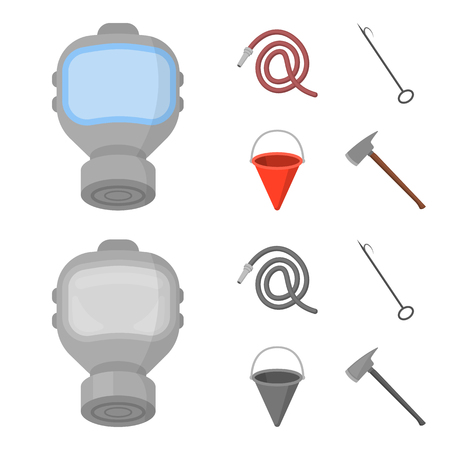 Gas mask, hose, bucket, bagore. Fire department set collection icons in cartoon,monochrome style vector symbol stock illustration .