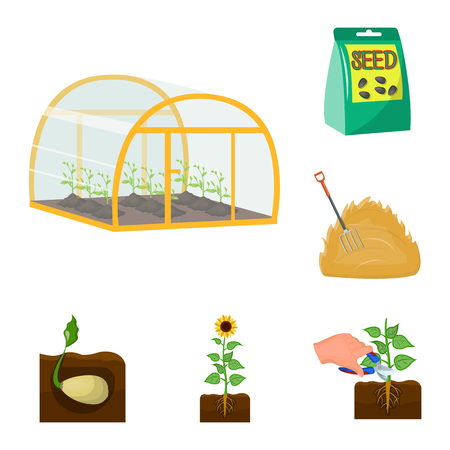 Farm and agriculture cartoon icons in set collection for design. Garden and plants isometric vector symbol stock  illustration.