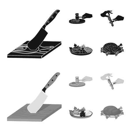 Cutlass on a cutting board, hammer for chops, cooking bacon, eating fish and vegetables. Eating and cooking set collection icons in black,monochrom style vector symbol stock illustration . Banque d'images - 105128592