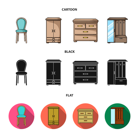 Armchair, cabinet, bedside, table .Furniture and home interiorset collection icons in cartoon,black,flat style vector symbol stock illustration .