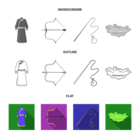 .mongol dressing gown, battle bow, theria on the map, Urga, Khlyst. Mongolia set collection icons in flat,outline,monochrome style vector symbol stock illustration . Иллюстрация
