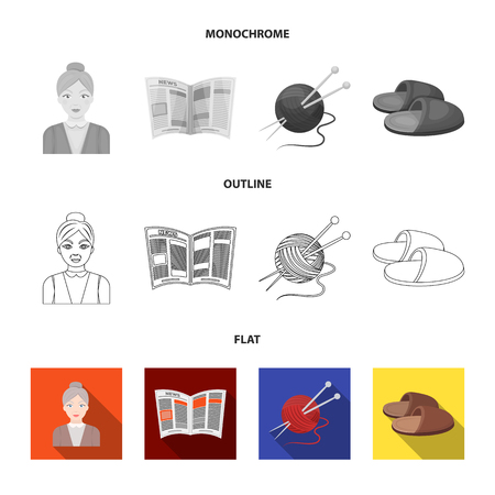 An elderly woman, slippers, a newspaper, knitting.Old age set collection icons in flat,outline,monochrome style vector symbol stock illustration .
