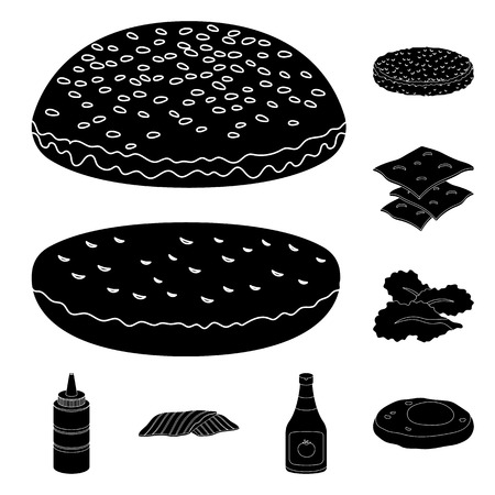 Burger and ingredients black icons in set collection for design. Burger cooking vector symbol stock web illustration. Ilustracje wektorowe