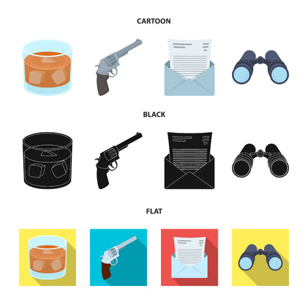 A glass of whiskey, a gun, binoculars, a letter in an envelope.Detective set collection icons in cartoon,black,flat style vector symbol stock illustration web.