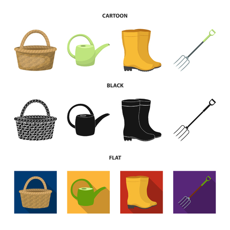 Basket wicker, watering can for irrigation, rubber boots, forks. Farm and gardening set collection icons in cartoon,black,flat style vector symbol stock illustration web.
