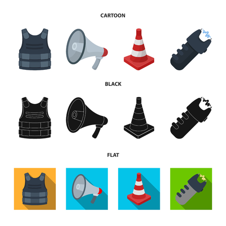 Bulletproof vest, megaphone, cone of fencing, electric shock. Police set collection icons in cartoon,black,flat style vector symbol stock illustration web.