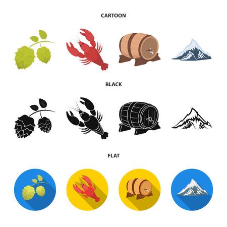 Alps, a barrel of beer, lobster, hops. Oktoberfest set collection icons in cartoon,black,flat style vector symbol stock illustration .