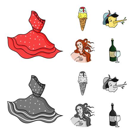 Italian dress, gelato, pinocchio, goddess of love. Italy set collection icons in cartoon,monochrome style vector symbol stock illustration . Illustration