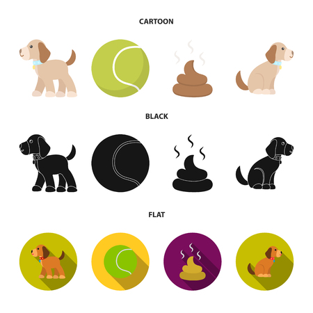 Dog sitting, dog standing, tennis ball, feces. Dog set collection icons in cartoon,black,flat style vector symbol stock illustration .