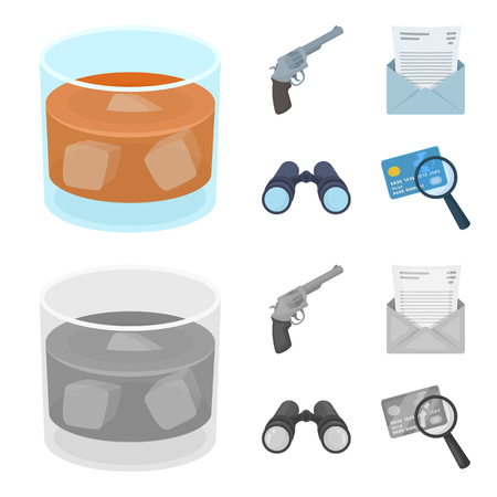 A glass of whiskey, a gun, binoculars, a letter in an envelope.Detective set collection icons in cartoon,monochrome style vector symbol stock illustration . Illustration