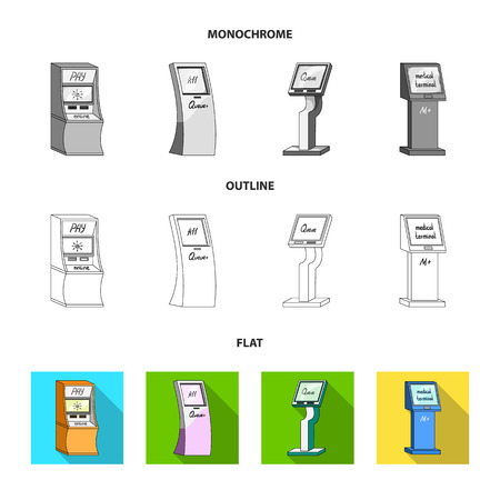 Medical terminal, ATM for payment,apparatus for queue,. Terminals set collection icons in flat,outline,monochrome style isometric vector symbol stock illustration .