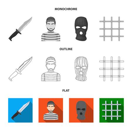 Knife, prisoner, mask on face, steel grille. Prison set collection icons in flat,outline,monochrome style vector symbol stock illustration web. Çizim