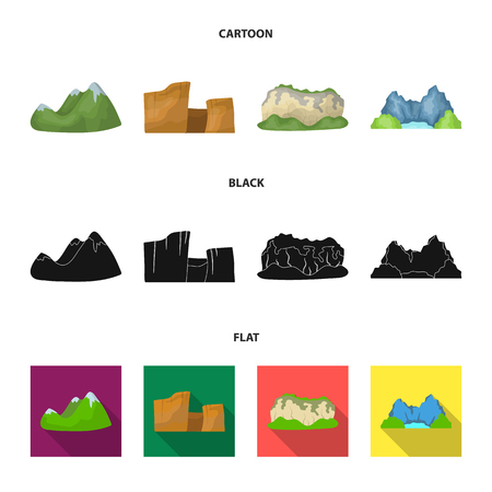 Green mountains with snow tops, a canyon, rocks with forests, a lagoon and rocks. Different mountains set collection icons in cartoon,black,flat style vector symbol stock illustration web.