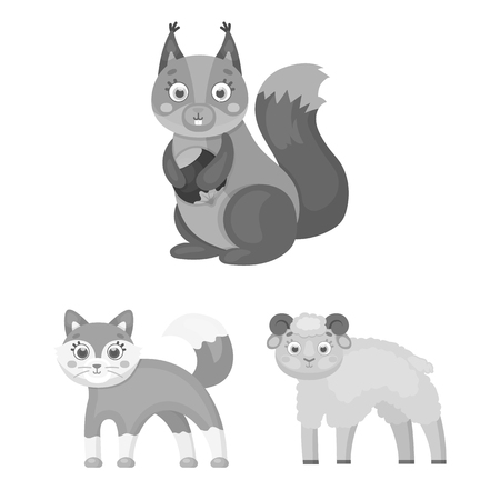 Toy animals monochrome icons in set collection for design. Bird, predator and herbivore vector symbol stock web illustration.