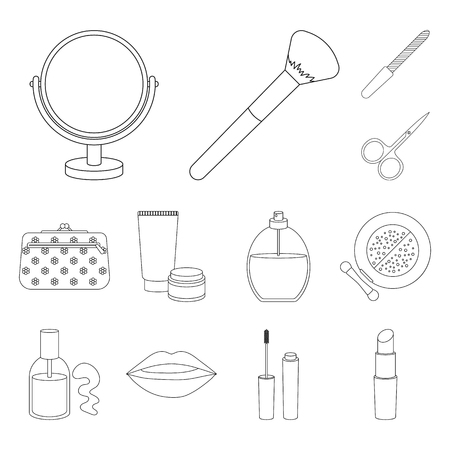 Makeup and cosmetics outline icons in set collection for design. Makeup and equipment vector symbol stock web illustration.