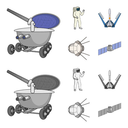 Lunokhod, space suit, rocket launch, artificial Earth satellite. Space technology set collection icons in cartoon,monochrome style vector symbol stock illustration web. Stock Photo