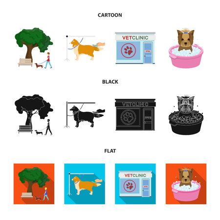 Walking with a dog in the park, combing a dog, a veterinarian office, bathing a pet. Vet clinic and pet care set collection icons in cartoon,black,flat style vector symbol stock illustration web.
