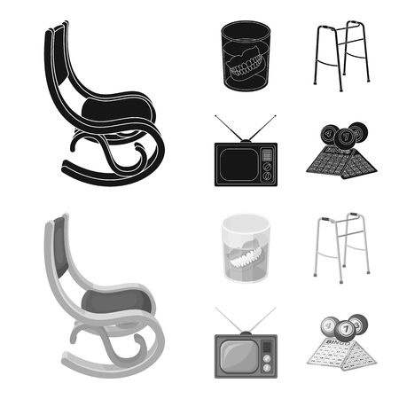 Denture, rocking chair, walker, old TV.Old age set collection icons in black,monochrom style vector symbol stock illustration web.