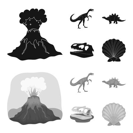 Volcanic eruption, gallimimus, stegosaurus,dinosaur skull. Dinosaur and prehistoric period set collection icons in black,monochrom style vector symbol stock illustration web.