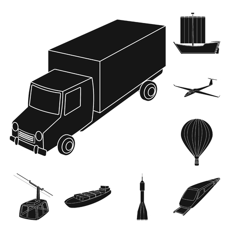 Different types of transport black icons in set collection for design. Car and ship vector symbol stock web illustration. Фото со стока - 105100667