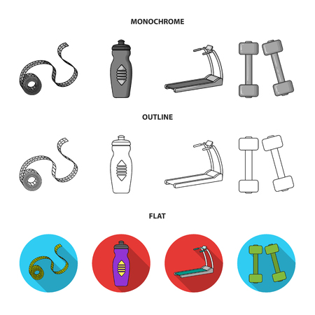 Measuring tape, water bottle, treadmill, dumbbells. Fitnes set collection icons in flat,outline,monochrome style vector symbol stock illustration web.