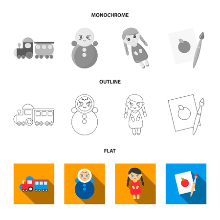 Train.kukla, picture.Toys set collection icons in flat,outline,monochrome style vector symbol stock illustration web.