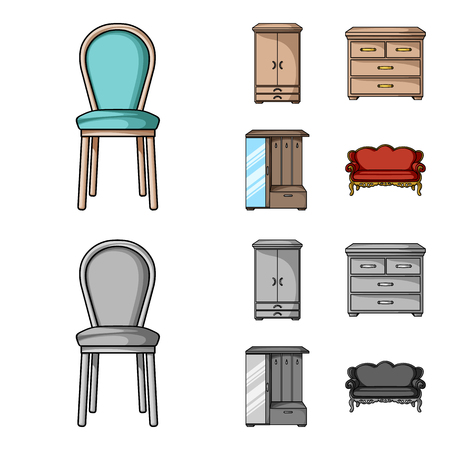 Armchair, cabinet, bedside, table .Furniture and home interiorset collection icons in cartoon,monochrome style vector symbol stock illustration web. Stock Photo